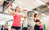 Group of people working out with dumbbells — Stock Photo