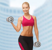 Smiling woman with heavy steel dumbbells — Stock Photo