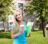 Smiling student with folders — Stock Photo