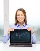Businesswoman with blank black laptop screen — Stock Photo