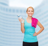 Sporty woman with towel and watel bottle — Stock Photo