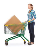 Smiling young woman with shopping cart — Stok fotoğraf