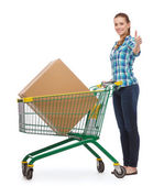 Smiling young woman with shopping cart — Stock Photo