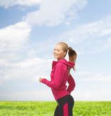 çalışan veya atlama sportif kadın — Stok fotoğraf
