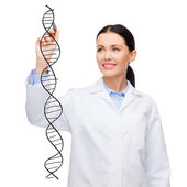 Female doctor drawing dna molecule in the air — Foto Stock