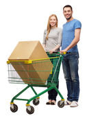 Smiling couple with shopping cart and big box — Stockfoto