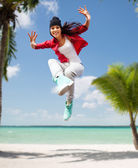 Beautiful dancing girl jumping — Stok fotoğraf