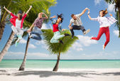 Group of teenagers jumping — Стоковое фото