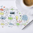 Colorful plan on paper with pen and coffee — Stock Photo
