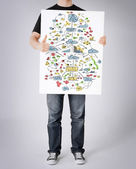 Man showing big plan on white board and thumbs up — Stok fotoğraf