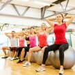 Stock Photo: Group of people working out in pilates class