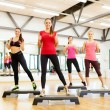 Stock Photo: Group of smiling female doing aerobics