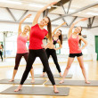 Stock Photo: Group of smiling women stretching in gym