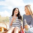 Stock Photo: Girlfriends with bottles of beer on beach