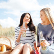 Stock Photo: Girlfriends with bottles of beer on the beach