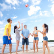 Stock Photo: Group of friends having fun on beach