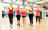 Group of people working out with stability balls — Stock Photo