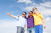 Group of male friends walking on the beach — Stock Photo
