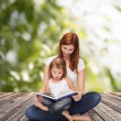Happy mother with adorable little girl and book — Stock Photo #42200947