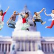 Group of teenagers jumping — Stock Photo