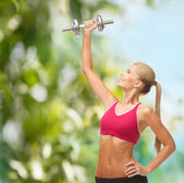 Woman lifting steel dumbbell — Stock Photo