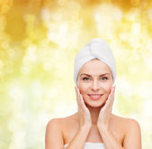 Beautiful woman in towel — Foto Stock