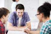 Group of students studying at school — Stock Photo