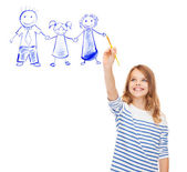 Little girl drawing with brush family portrait — Stock Photo