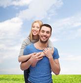 Lächeln, paar, umarmen — Stockfoto