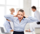 Angry screaming businesswoman — Foto Stock