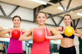 Group of people working out with stability balls — Foto de Stock