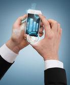 Affärsman röra skärmen av smartphone — Stockfoto