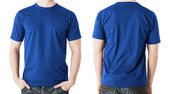 Man in blank blue t-shirt, front and back view — Stock Photo