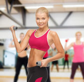 Young sporty woman with light dumbbells — 图库照片