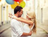 彩色气球,情侣 — 图库照片
