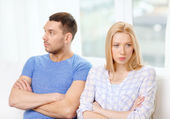 Unhappy couple having argument at home — Stockfoto