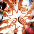 Group of teenagers showing finger five — Stock Photo #43433101