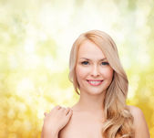 Face and shoulders of happy woman with long hair — Foto Stock
