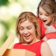 Smiling mother and daughter opening gift box — Stock Photo #43706643