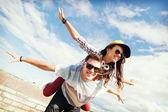 Teenagers having fun outside — Stock Photo