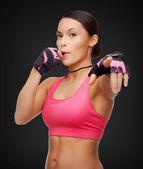 Asiatiche personal trainer con fischietto — Foto Stock