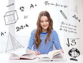 Happy smiling student girl with books — Foto de Stock