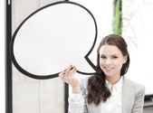 Smiling businesswoman with blank text bubble — Foto de Stock