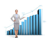 Businesswoman showing growing chart — Stockfoto
