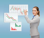 Businesswoman drawing forex chart in air — Stock Photo