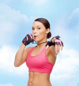 Asian personal trainer with whistle — Stockfoto