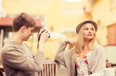 Couple taking photo picture in cafe — Stock Photo