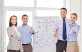 Business team with flip board showing thumbs up — Stock Photo