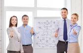 бизнес-группа с флип совет показывает палец вверх — Стоковое фото