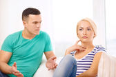 Unhappy couple having argument at home — Foto Stock